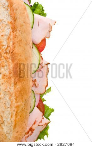 Turkey Sandwich Top View Isolated On White
