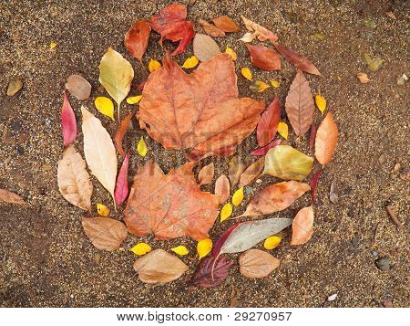wreath of leaves on ground