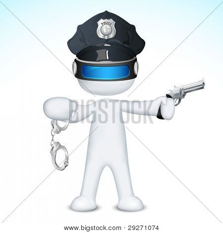 illustration of 3d police man in vector fully scalable holding pistol
