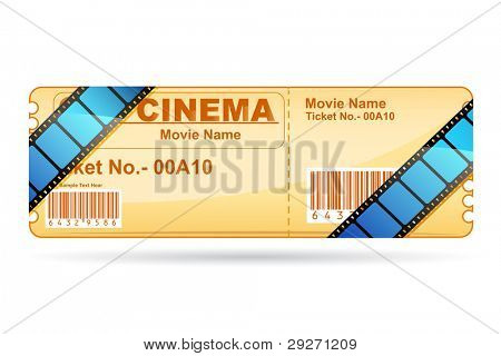 illustration of movie ticket wrapped with film reel strip