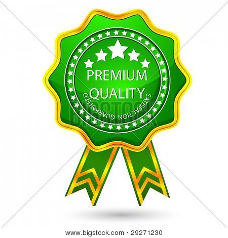 illustration of glossy badge for premium quality