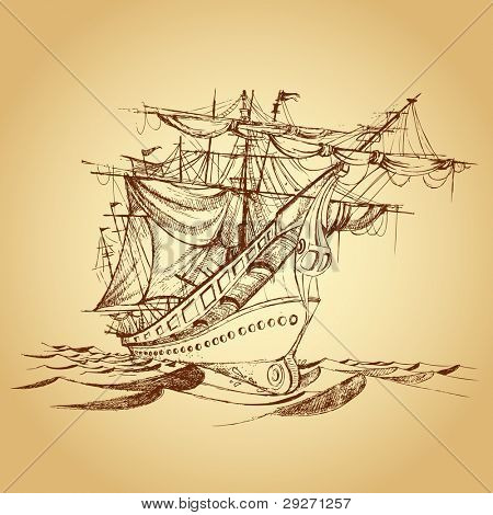 illustration of drawing of historical ship on paper
