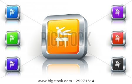 Pommel Horse Icon on 3D Button with Metallic Rim Original Illustration