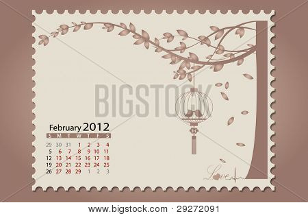 Romantic vintage background 2012 calendar,February. Vector Illustration. Easy editable.
