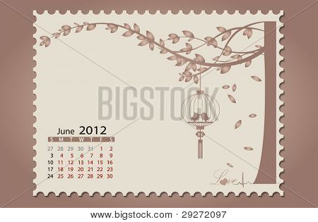 Romantic vintage background 2012 calendar,June. Vector Illustration. Easy editable.