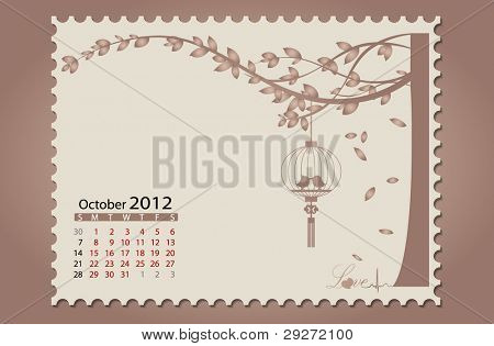 Romantic vintage background 2012 calendar,October. Vector Illustration. Easy editable.