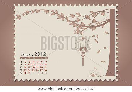 Romantic vintage background 2012 calendar,January. Vector Illustration. Easy editable.