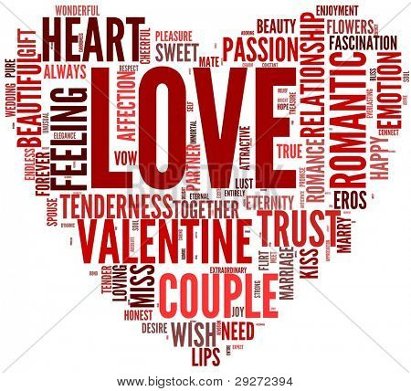 Valentines day and love concept in word tag cloud on white background