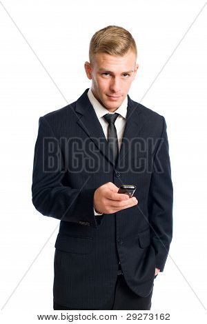 Smart Young Businessman With His Cellphone.