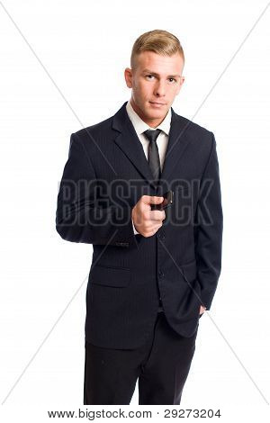 Young Businessman With Mobile Phone.