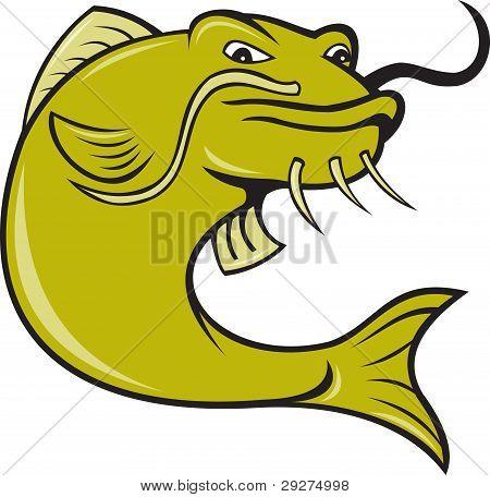 Angry Cartoon Catfish Fish