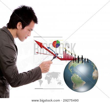 Business Man Blick Erde und Business Graph unter der Lupe