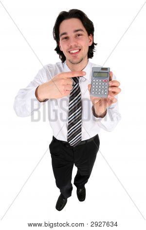 Businessman Holding A Calculator