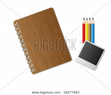 Education equipment notebook and pencil set.