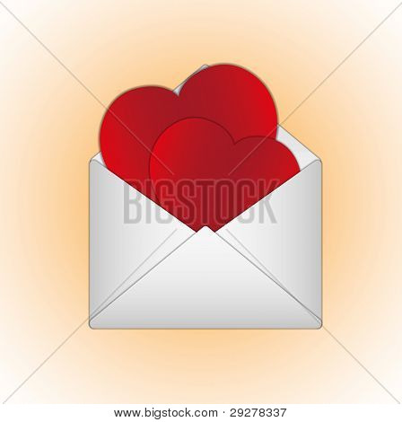 Love and sweet hearts valentine cards in letter.