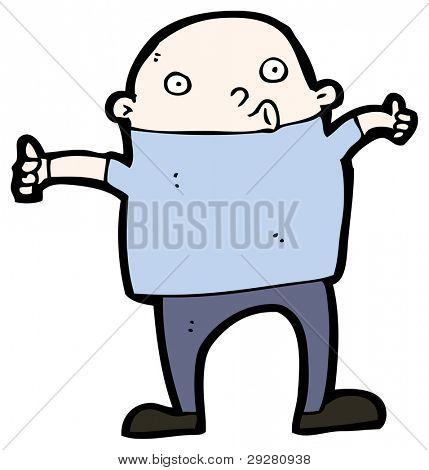 cartoon bald man giving thumbs up sign (raster version)