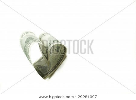 Heart Shaped 100 Dollar Bill Isolated
