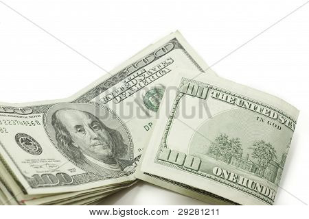 Stack Of 100 Dollar Bills One Folded