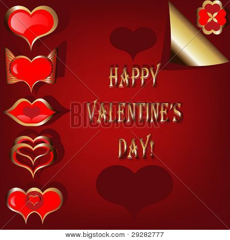 Valentine Set Of Red And Golden Hearts On The Red Background