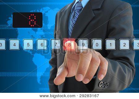 businessman hand pressing 8 floor in elevator