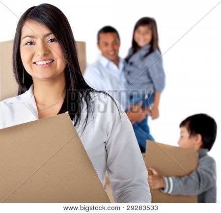 Family moving house carrying boxes - isolated over a white background