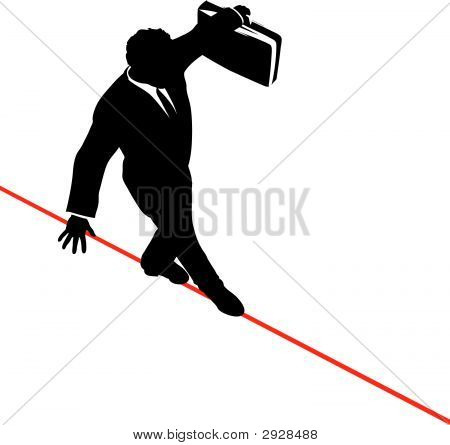 Businessman On Tightrope From Above.Eps