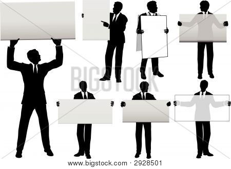 Sihouette Business Men Hold Sign Backgrounds.Eps