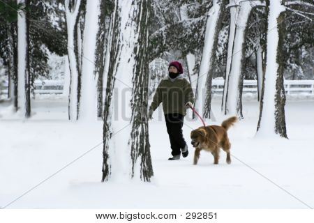 Girl Walking Dog 001