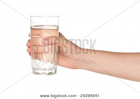 Woman hand with glass of water isolated on white background