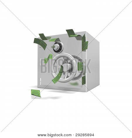 safe stuffed english bank notes