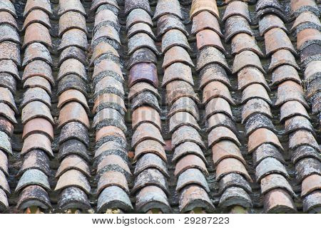 Antique roof tiles, spain architecture