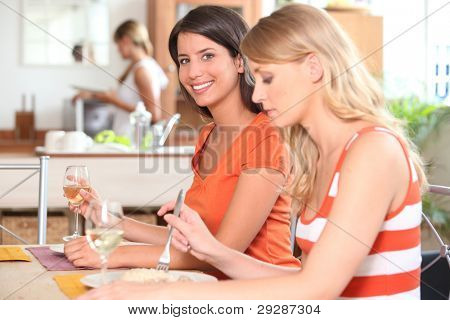 Young women having lunch