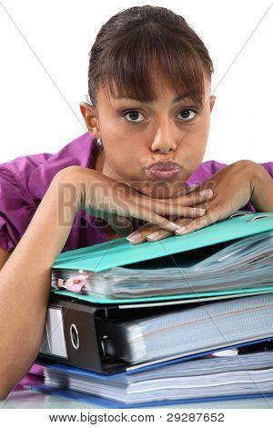 Office worker puckering her lips