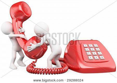 3D kleinen Menschen sprechen am Telefon