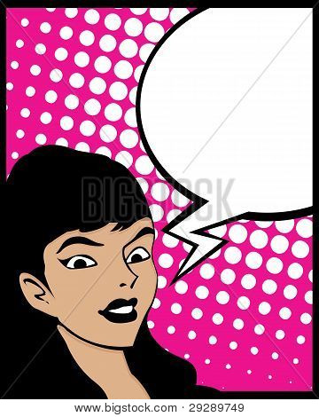 Speech Bubble Pop Art Woman