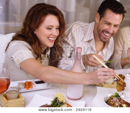 Attractive Young Couple Fine Dining