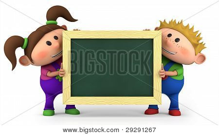 Kids With Chalkboard