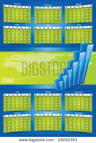 2012 vector calendar with financial concept