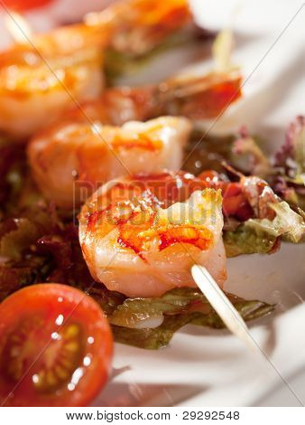Japanese Skewered Prawns with Vegetables