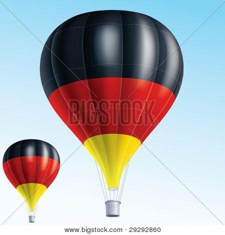 Hot balloons. Vector illustration of air balloons painted as Germany flag