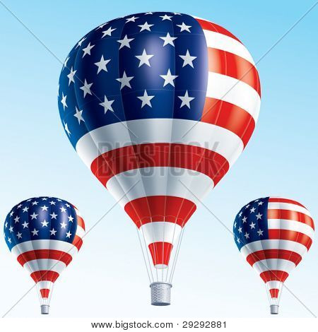 Hot balloons. Vector illustration of air balloons painted as Usa flag