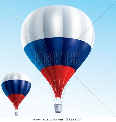 Hot balloons. Vector illustration of air balloons painted as Russia flag