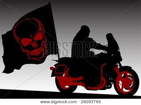 Vector drawing rider with black flag
