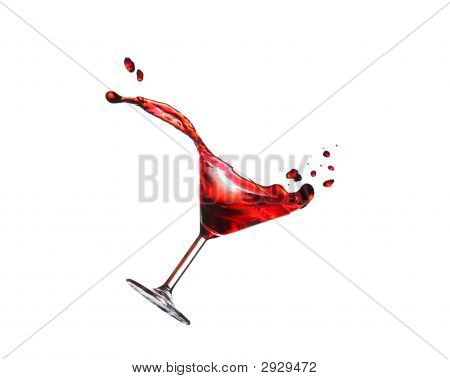 Flying Cocktail Isolated On White