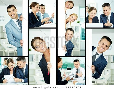 Collage of friendly professionals planning work and peeking out of poster