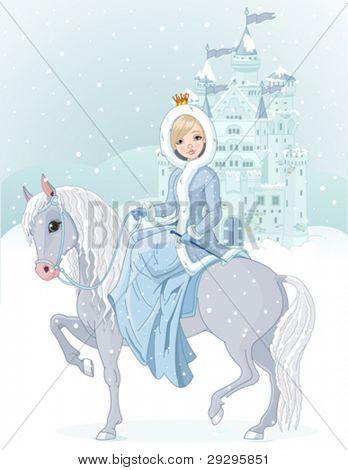 Diseño de invierno de la hermosa princesa de montar a caballo