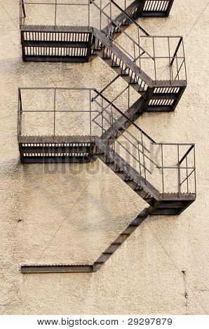 Old Building Metal Emergency Exit Stairs Down