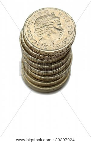 A Stack Of British Pound Coins With Queen Elizabeth Portrait Isolated On A White Background
