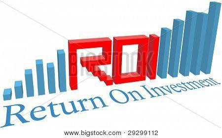 ROI retorno de Letras de palabra de siglas de inversión en un gráfico de barras del negocio