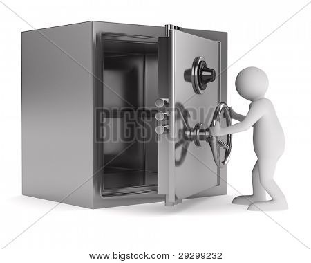 man and safe on white background. Isolated 3D image